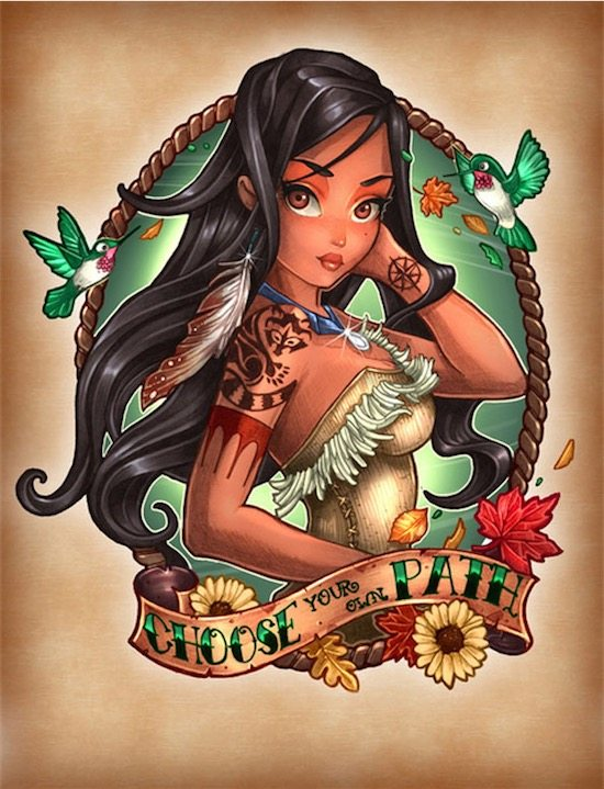 disney-princess-tattoo-pin-up-Pocahontas | justsaying.ASIA