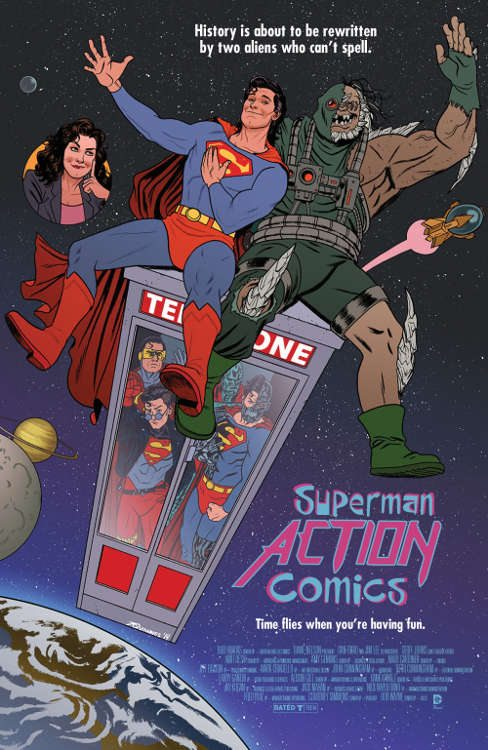 "Action Comics #40 by Joe Quinones based on ""Bill and Ted's Excellent Adventure."""