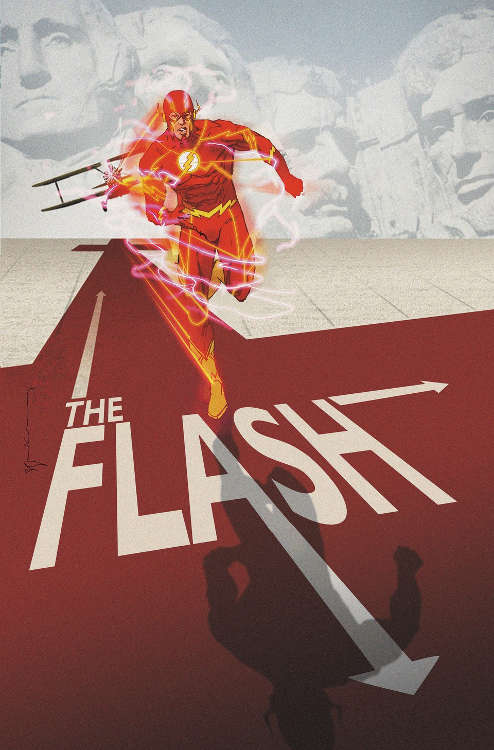 "The Flash #40 by Bill Sienkiewicz based on ""North By Northwest."""