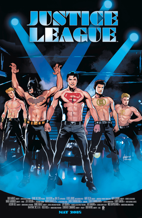 "Justice League #40 by Emanuela Lupacchino based on ""Magic Mike."""