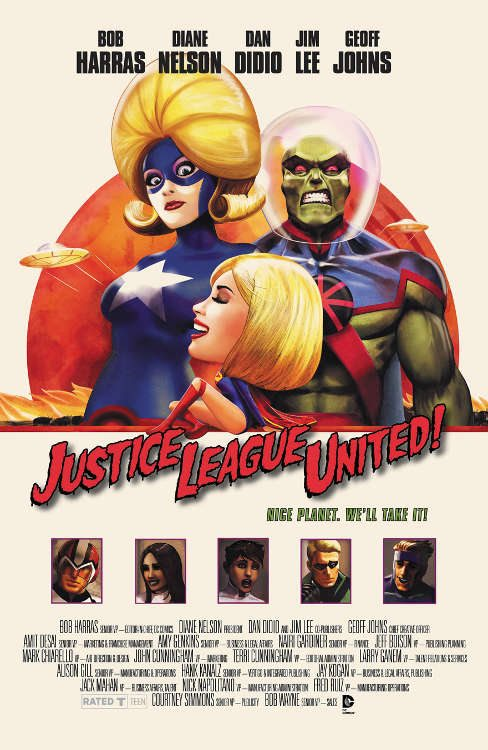 "Justice League United #10 by Marco D'Alphonso based on ""Mars Attacks!"""