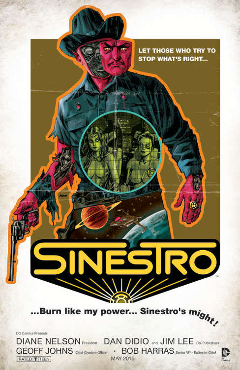 "Sinestro #11 by Dave Johnson based on ""Westworld."""