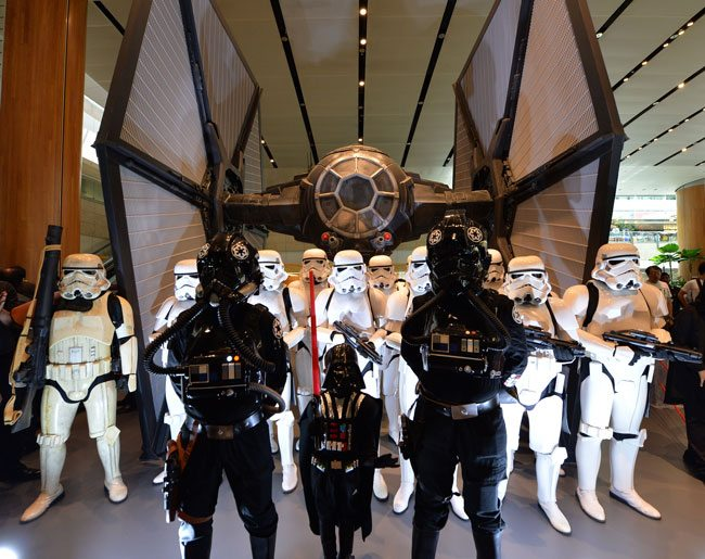Star-Wars-characters-with-TIE-Fighter-at-Changi-Airport-Terminal-2-Departure-Hall