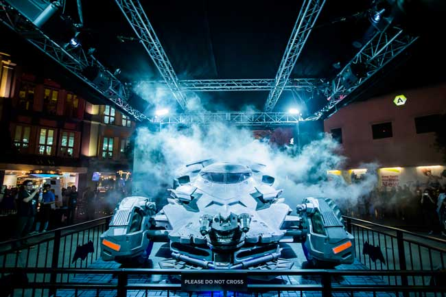 The fully armoured and equipped Batmobile replica will be exhibited at Clarke Quay from today until 20 March, and at Westgate from 22 March to 7 April.