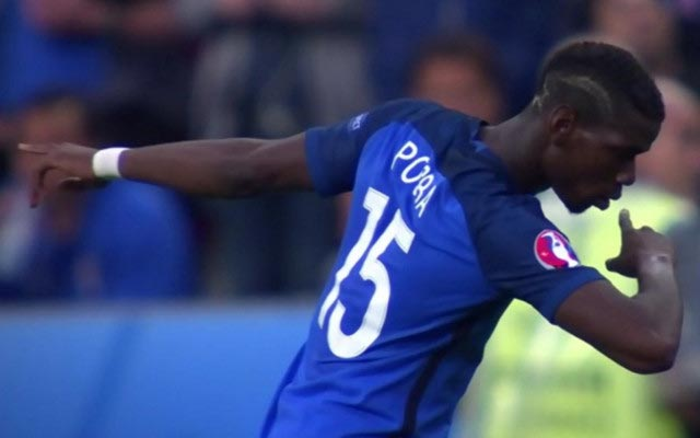 Fance and Manchester United player, Paul Pogba celebrates scoring goals with a dab.