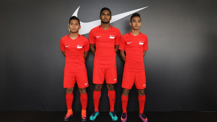 The New Singapore National Team Kit by Nike as worn by Sahil Suhaimi, Hariss Harun and Faris Ramli