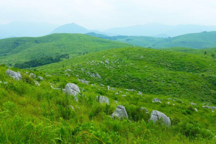 Akiyoshidai, featuring a plateau of limestone rock, a destination on the San'in Quest