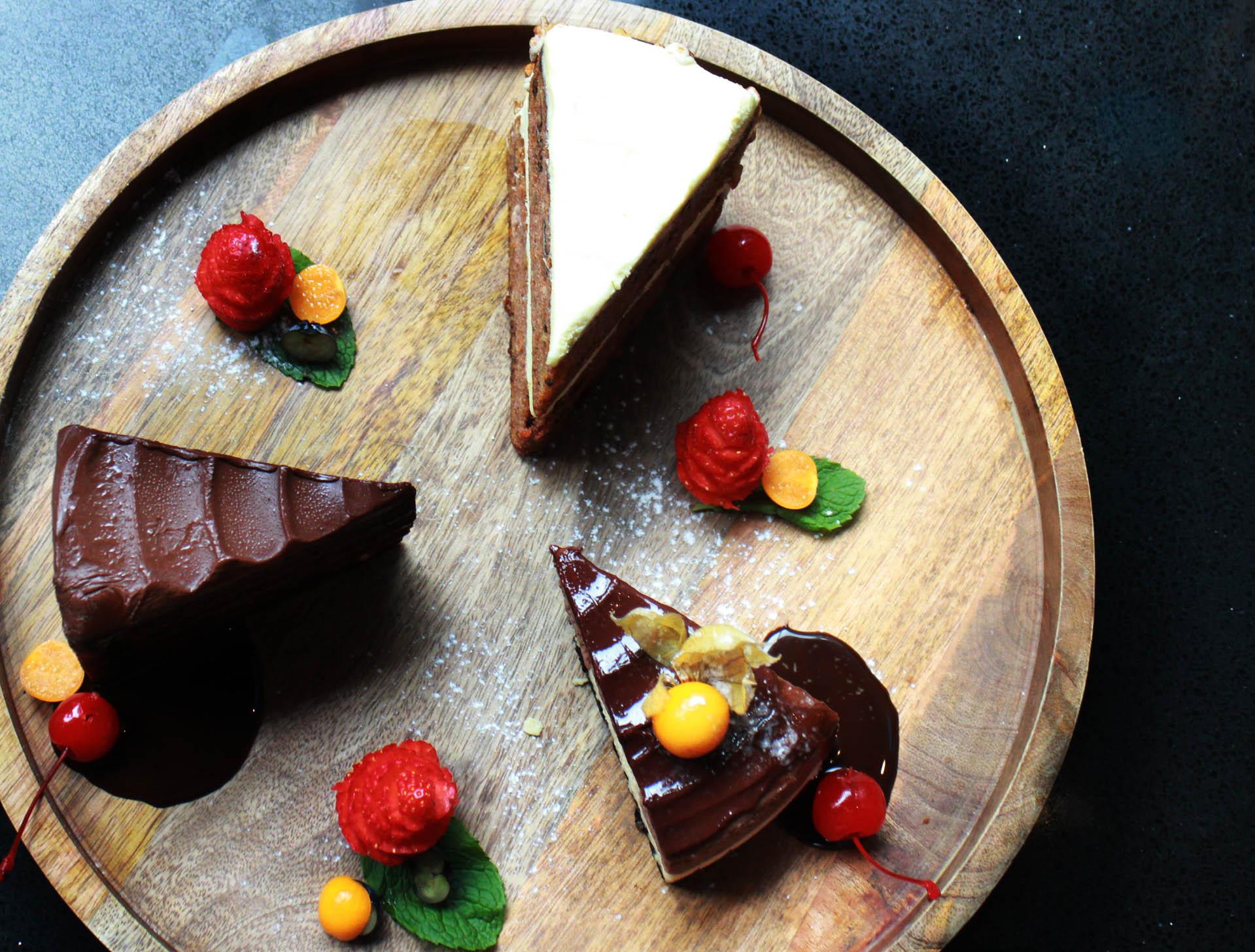 From top to bottom, American Carrot Cake. Sea Salt Caramel Chocolate Cake and Hazelnut Chocolate Cheesecake (all $12)