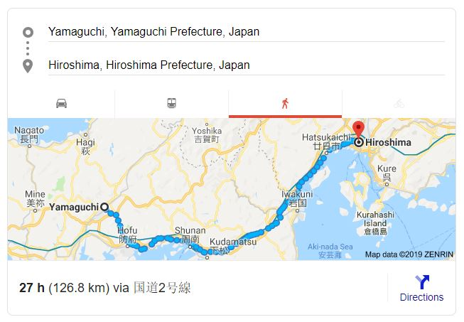 Image depicts a Google Map screenshot with distance from Yamaguchi to Hiroshima, adding up to 126.8KM.