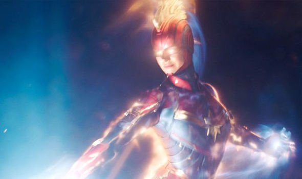 A screenshot from the trailer of Captain Marvel. The mohawk is based on a look created by Jamie McKelvie for a Captain Marvel redesign.