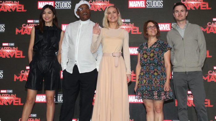 Anna Boden and Ryan Fleck (on right of image) with cast members of Captain Marvel, during their Singapore press conference (Source: TODAY)