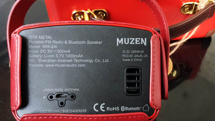 The Muzen OTR uses a USB mini port for charging, AUX audio and an FM antenna that enhances reception.