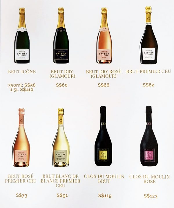 The 8 bottles that Champagne Cattier offers in Singapore, through Bottles and Bottles.