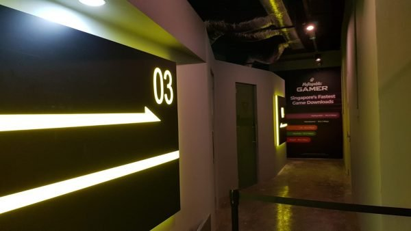 One of Bountie Arenas training rooms, whichhouse consoles and a convex set-up to accomodate coaches.